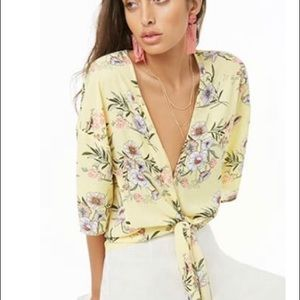 NWT F21 Yellow Floral Top+ Lavender Shorts